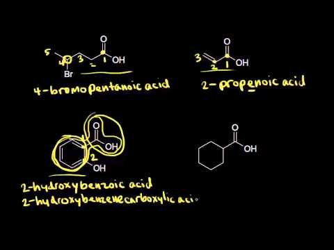 Carboxylic acid nomenclature and properties