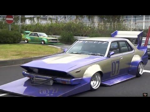 【直管竹やりサウンド!】早朝の大黒で旧車軍団に遭遇【HD】Custom Japanese classic car!!