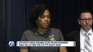 Armed robber shot, killed with own gun after victim fights back on Detroit's east side