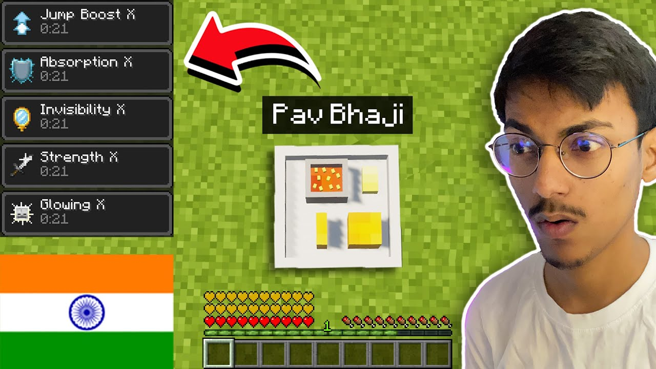 Minecraft, But Eating INDIAN Foods Give OP Effects...