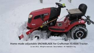 I made a SNOWBLADE for my Craftsman YS 4500 Lawn Tractor + Sibley winter beauty. thumbnail