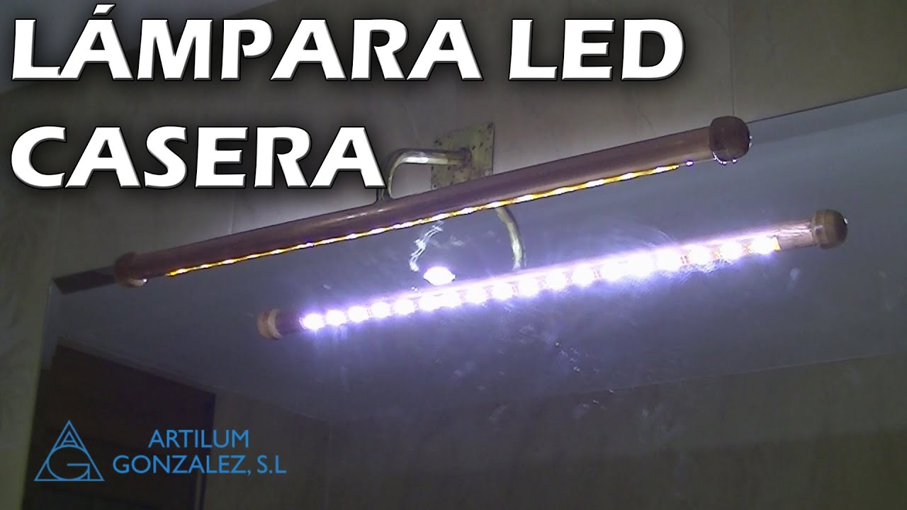 C mo hacer una l mpara led para el ba o youtube for Lamparas de pared