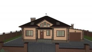 Симметричный одноэтажный жилой дом на три спальни с гаражом  C-199-ТП(, 2016-10-28T14:35:18.000Z)