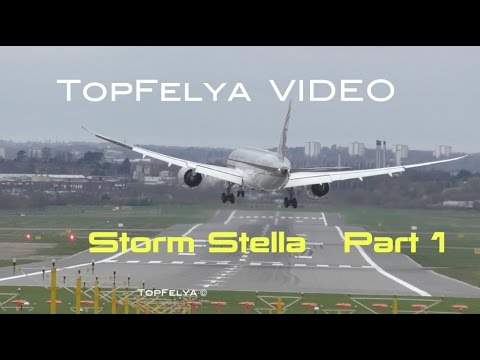 "Crosswind landings and take offs Storm Stella in United Kingdom ""Part 1"""