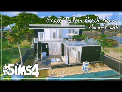 Modern Beach House the sims 4: house build | small modern beach house - youtube