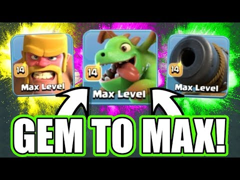 GEM TO MAX LEVEL! - Clash Of Clans - ALL MAX LEVEL TROOPS ONLY!