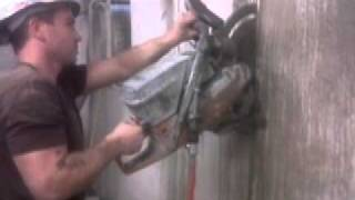 How To Cut Concrete : Concrete cutting duct opening with Husqvarna k970 ring saw in Vancouver Canada