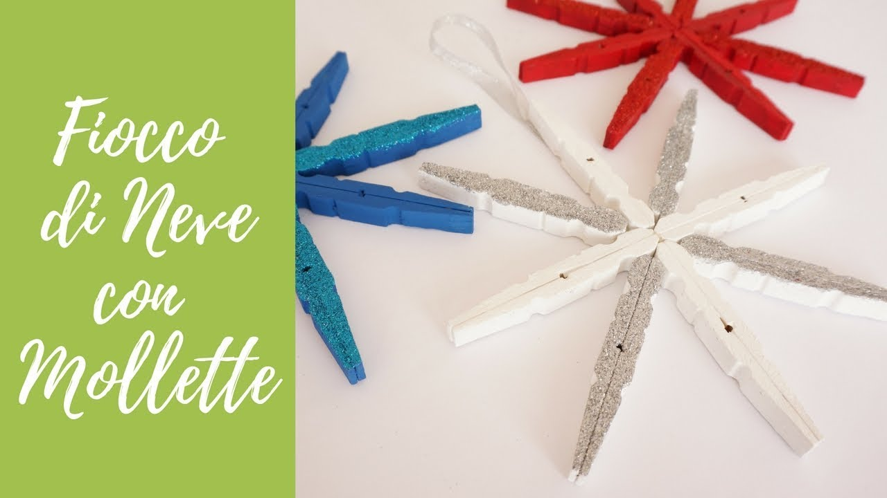 Lavoretti Di Natale Una Stella Con Mollette.Tuto Fiocco Di Neve Con Mollette E Glitter Eng Subs Diy Christmas Snowflake With Clothespins