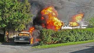 PRE-ARRIVAL:  Fully involved garage and car behind 20 Magna Drive, Coplay PA.