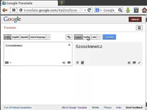 How To Ounce Szoszkiewicz In Polish English French And Latin According Google Translate