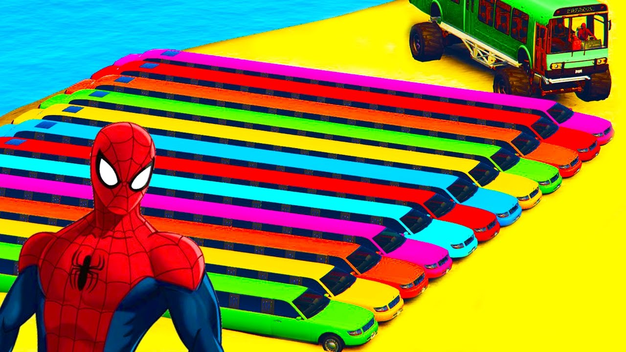 Long Color Cars In Spiderman Cartoon With Colors For Kids And Children Nursery Rhymes Youtube