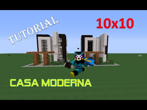 tutorial como hacer una casa moderna 10x10 en minecraft