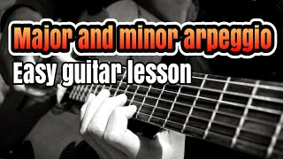 How To play major and minor arpeggio easy guitar lessons