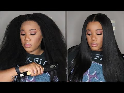 This $37 Flat Iron From Amazon Is Bomb!!! I Beginner Friendly Kinky Straight Wig I MyFirstWig