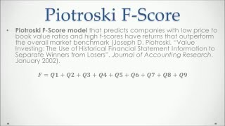 Piotroski F Score with Excel