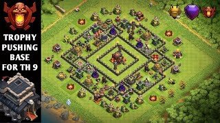 BEST NEW TOWN HALL 9 TH9 TROPHY PUSHING BASE 2018  CHAMPION & TITEN LEAGUE BASE