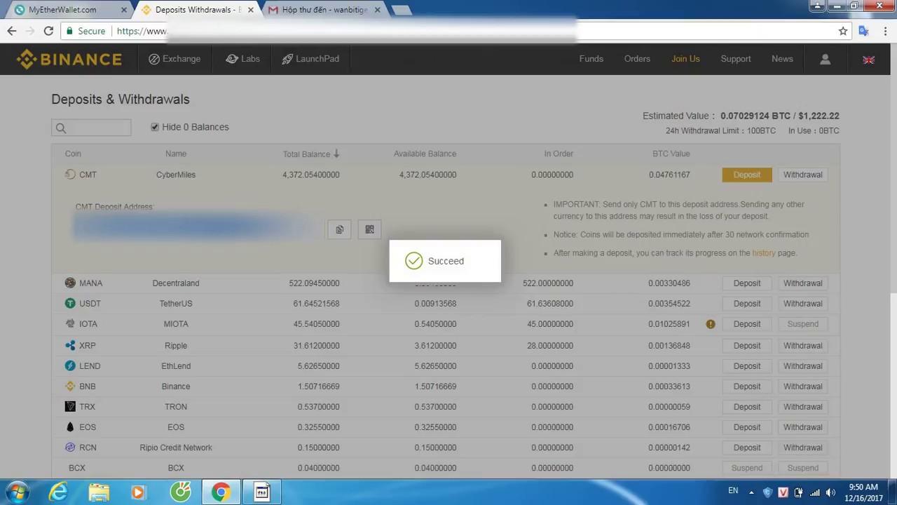 Nhận và Rút Token CMT từ sàn BINANCE qua ví lạnh LEDGER NANO S(MEW) (DEPOSIT & WITHRAW FROM BINANCE)