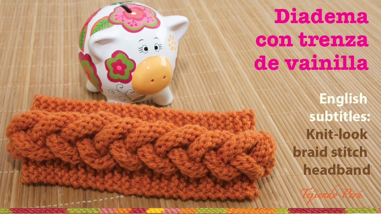 Vincha o diadema con trenza en relieve en 2 agujas / English ...