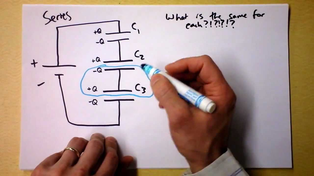 Equivalent Capacitance For Capacitors In Series And Parallel Current Flows Through Them Heres An Example Circuit With Three Circuits Reduction Doc Physics Youtube