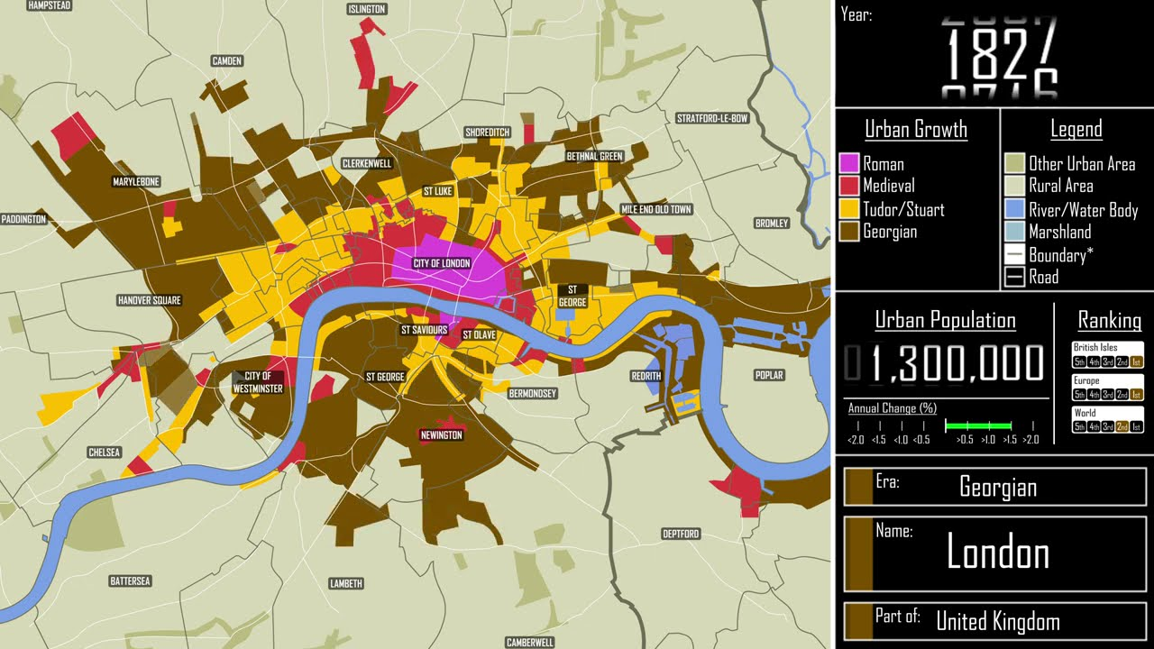 The Growth of London, from the Romans to the 21st Century, Visualized in a Time-Lapse Animated Map