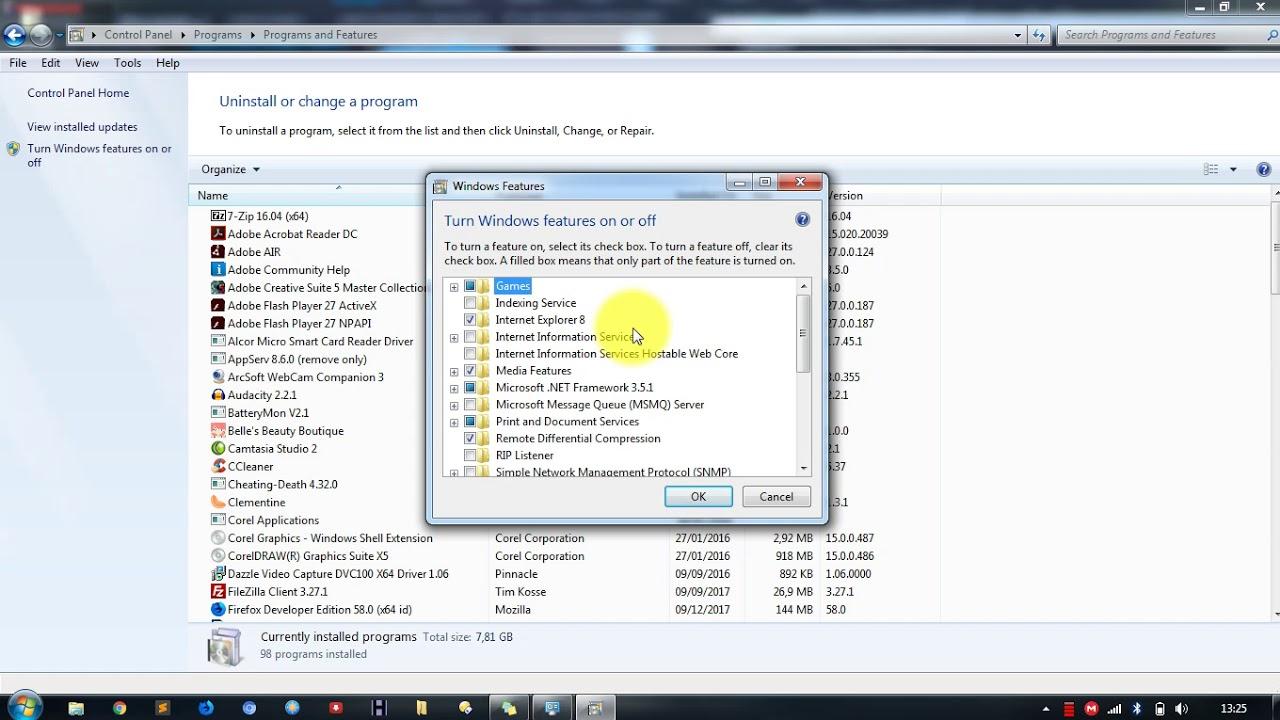 Cara Menghapus Uninstall Internet Explorer Di Windows 7 - YouTube