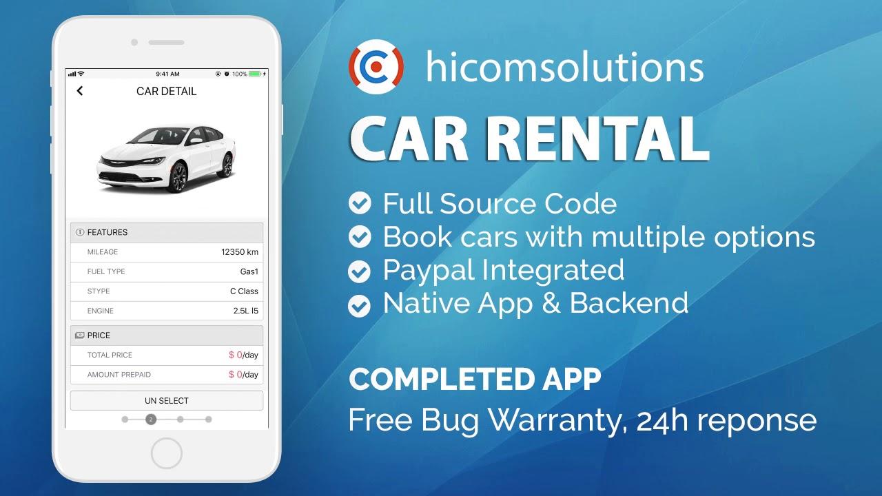 iOS Demo - Car Rental App Template Mobile App Template, Script, Source Code  for Sale