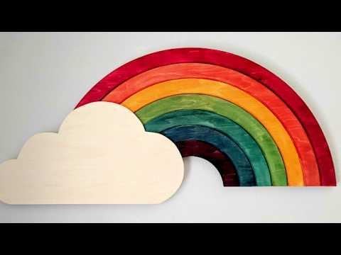 DIY Wooden Rainbow Wall Art (it lights up too!)