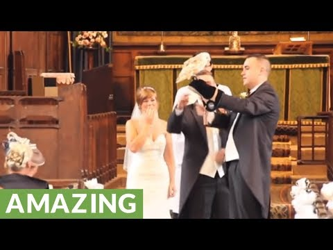 Owl amazingly flies wedding rings to the alter during ceremony
