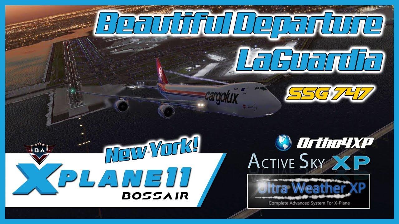 Amazing 747 Departure LaGuardia Airport New York | SSG Boeing 747-8 Custom  Soundpack | X-Plane 11