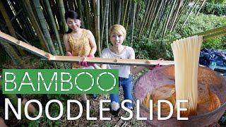 Bamboo noodle slide!!! Summer fun in Japan! (Subtitled!)