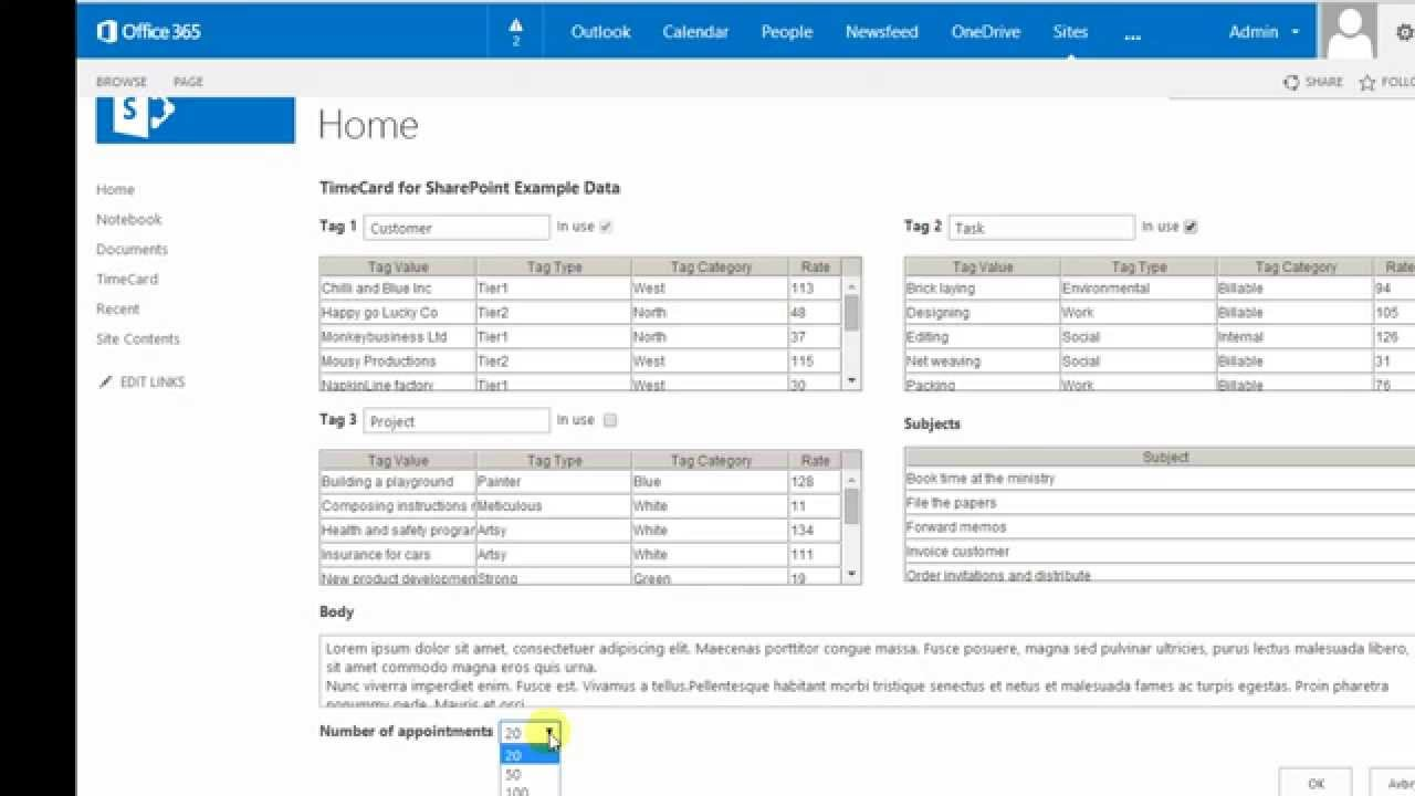 timecard for sharepoint example data
