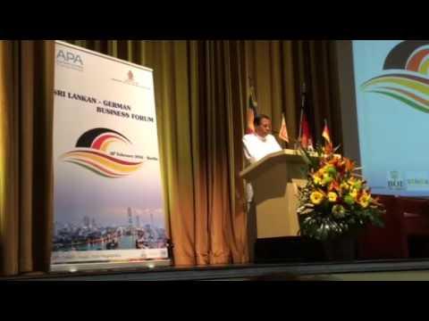Pres Sirisena addresses Sri Lanka - German Business Forum Berlin 18/2/16