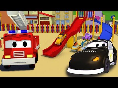 Bilpatrullens brandbil och polisbil: Kraschen på rutschbanan| Bil- & lastbilsserier för barn