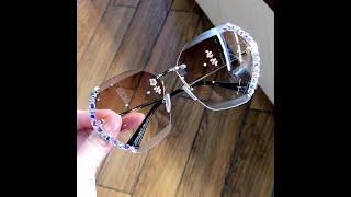 Женские квадратные солнцезащитные очки винтажные модные большие очки без оправы от известного