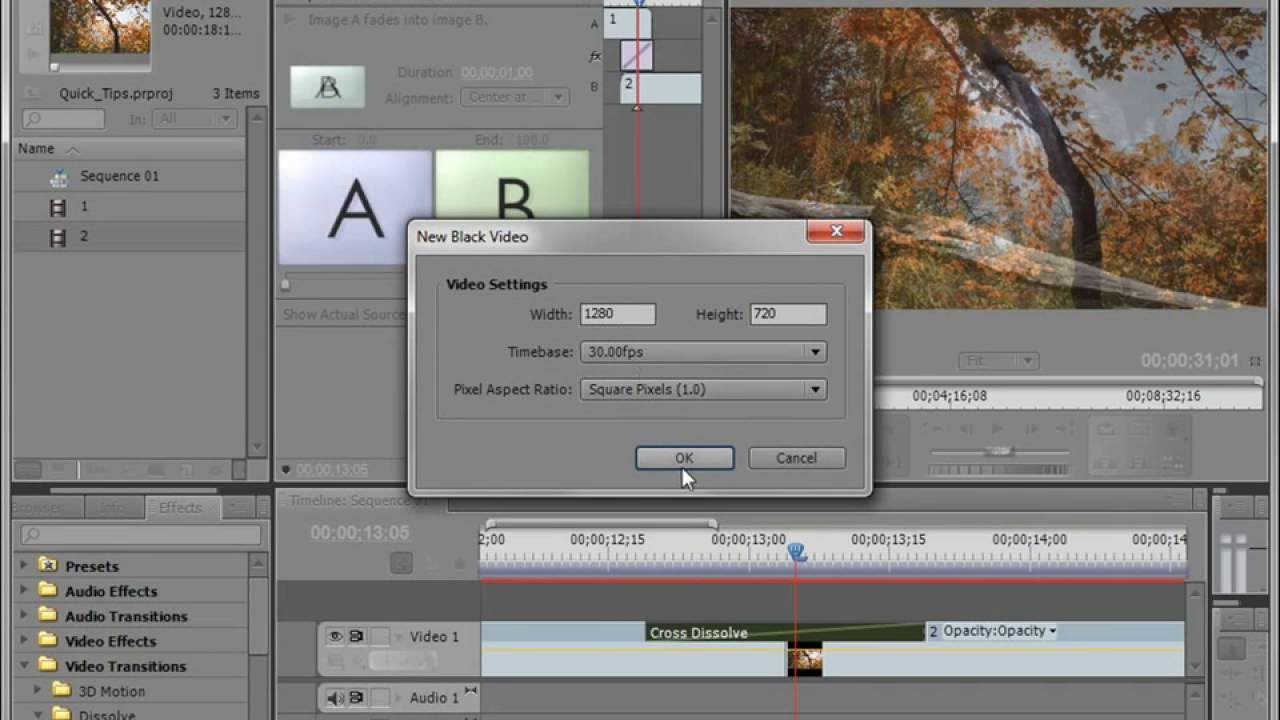 Custom Transition using Lens Flare Effect in Adobe Premiere Pro