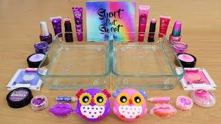 purple vs pink mixing makeup eyeshadow into slime special series 114 satisfying slime video