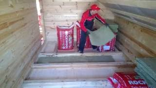 Монтаж пола второго этажа в доме из бруса