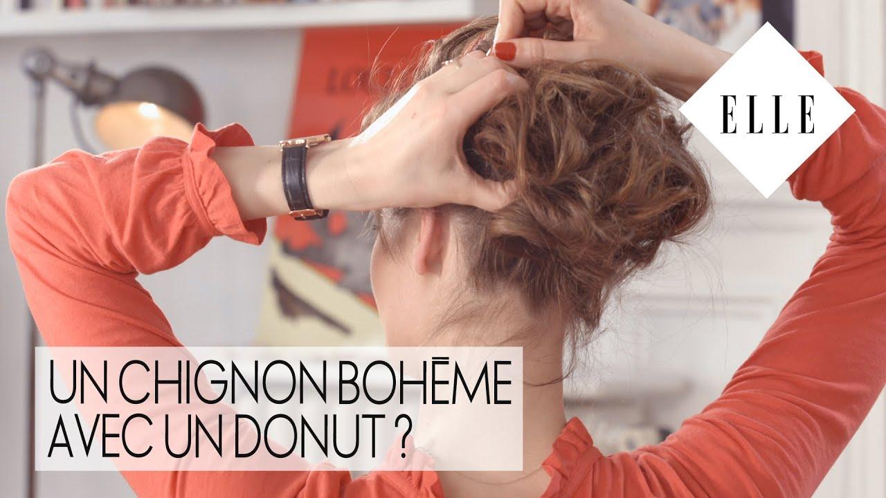 Un chignon bohème avec un donut ?┃ELLE Coiffure - YouTube