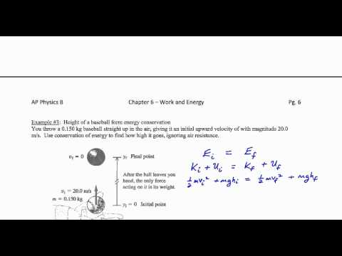 Chapter 6; Example #3 (Height of a baseball by energy methods)
