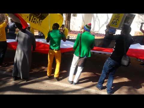 ذكرى مذبحة رابعة من امام السفارة المصرية جنوب افريقيا