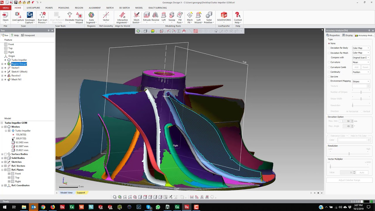 Geomagic Design X Reverse Engineering With Gom Capture 3d Impeller Re Youtube