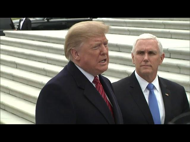 Trump visits Capitol to seek GOP shutdown support