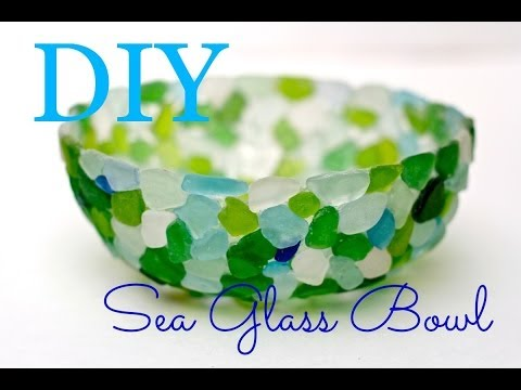 How to make a Seaglass bowl with tacky glue and sandwich wrap!