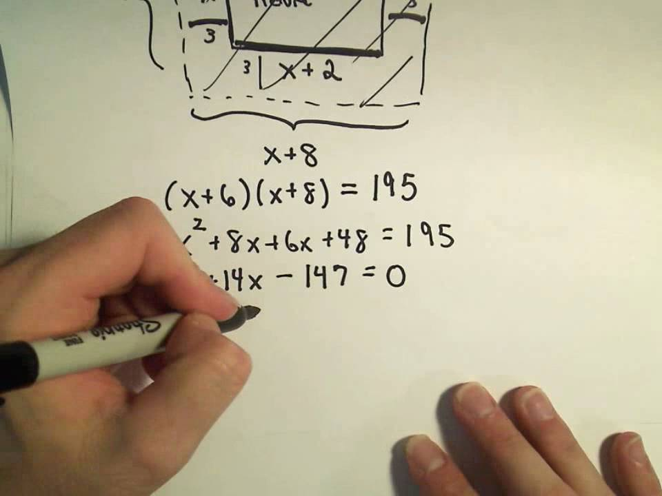 Solving a Geometry Word Problem by Using Quadratic Equations – Factoring Word Problems Worksheet