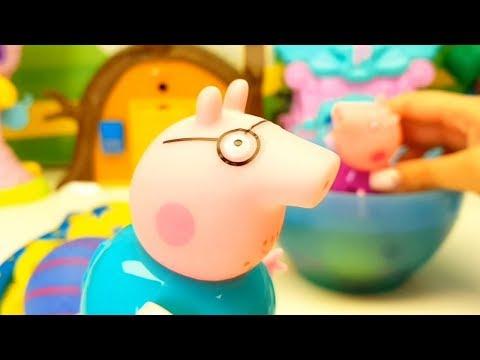 Cartone animato PEPPA PIG impara a fare CANESTRO giocando con tantissime PALLE COLORATE