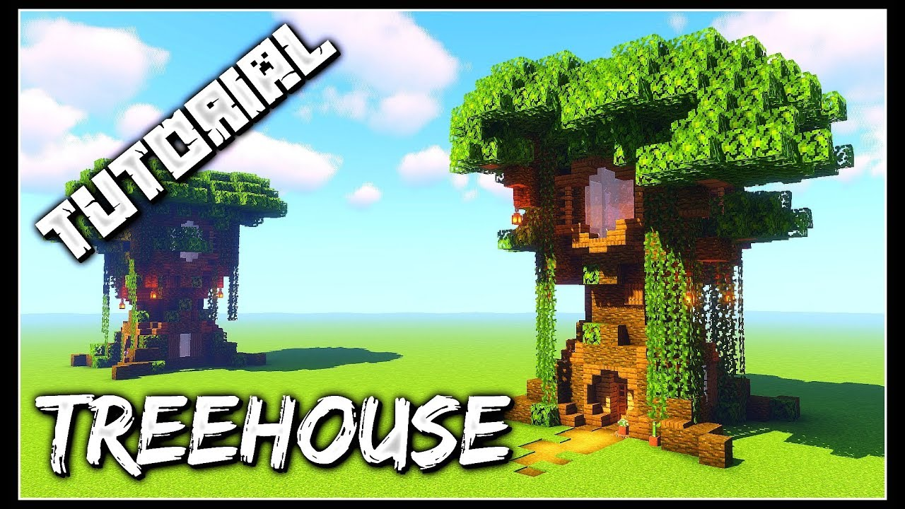 How To Build A Treehouse Minecraft Tutorial Youtube