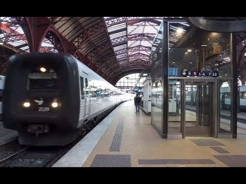 Denmark, Copenhagen Central Railway Station, 3X elevator, walking to train track 26