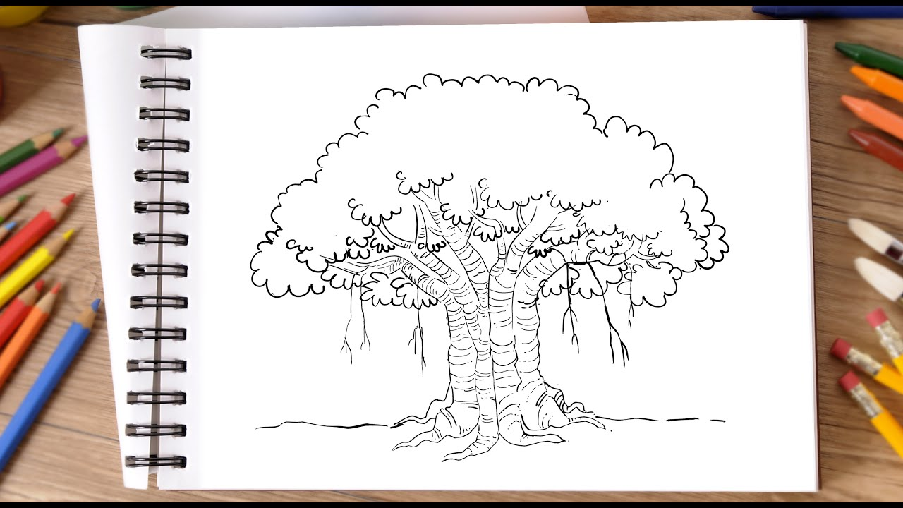 How to Draw Banyan Tree | Step by Step | For Beginners | 2020 *New Drawing Hacks*