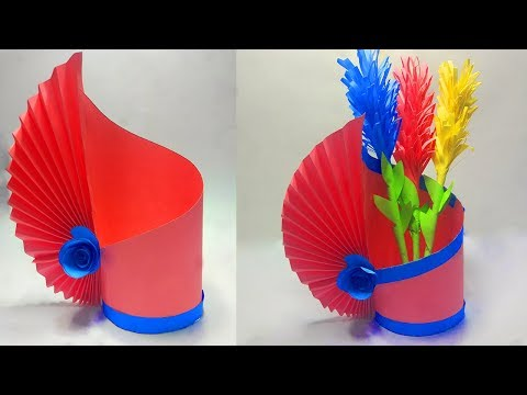 How to Make a Flower Vase At Home | Easy paper Flower Vase | simple paper craft