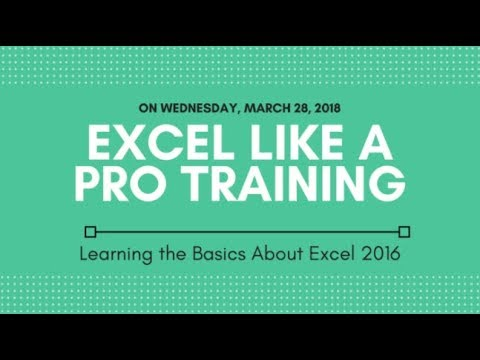 JMARK - Excel Like A Pro Training: Learning About the Basics of Excel 2016